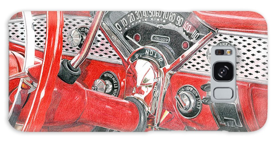 Classic Galaxy Case featuring the drawing 1955 Chevrolet Bel Air by Rob De Vries