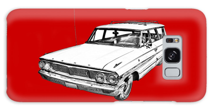 1964 Ford Galaxy Country Sedan Galaxy S8 Case featuring the photograph 1964 Ford Galaxy Country Stationwagon Illustration by Keith Webber Jr