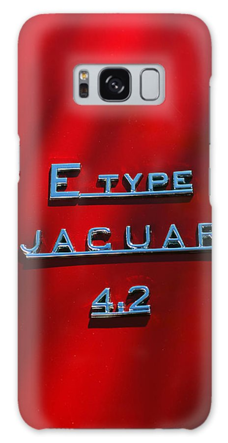 Car Galaxy S8 Case featuring the photograph 1965 Jaguar E Type Emblem by Jill Reger