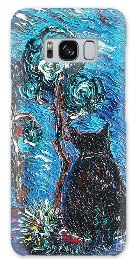 Cat Paintings Galaxy S8 Case featuring the painting A Black Cat by Seon-Jeong Kim