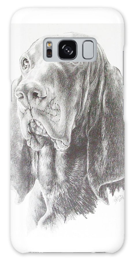 Purebred Dogs Galaxy S8 Case featuring the drawing Black And Tan Coonhound by Barbara Keith