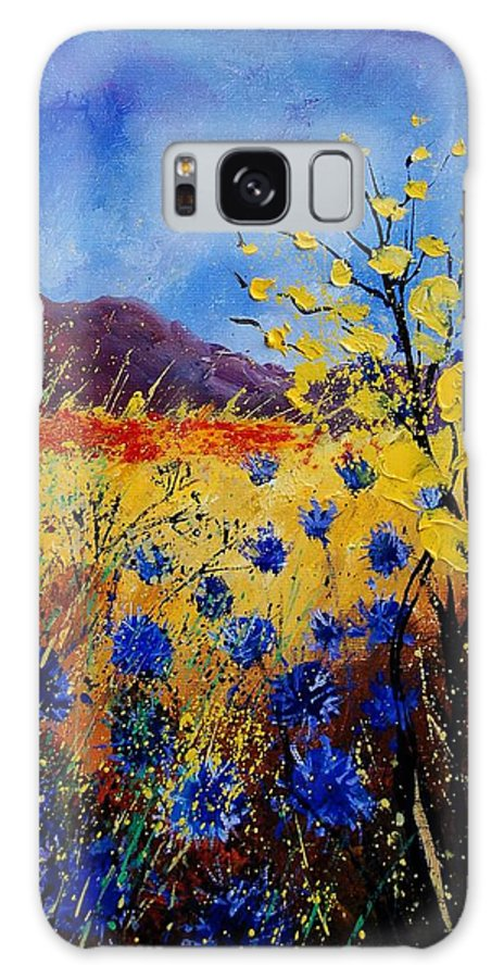 Poppies Flowers Floral Galaxy S8 Case featuring the painting Blue Cornflowers by Pol Ledent