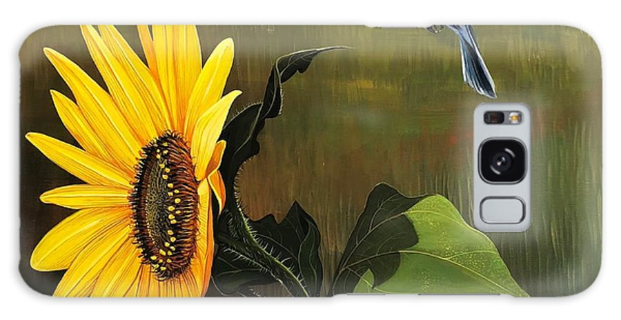 Sunflower Galaxy Case featuring the painting Bright As Yellow by Hunter Jay