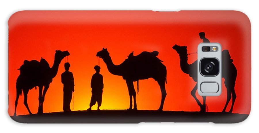 India Galaxy S8 Case featuring the photograph Camels At Sunset by Michele Burgess