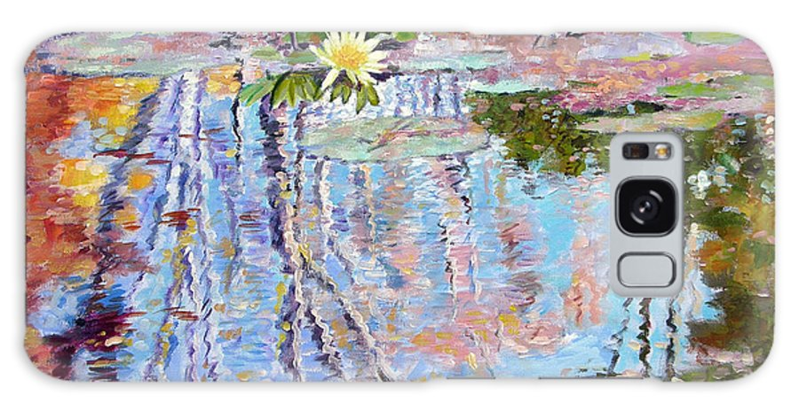 Garden Pond Galaxy S8 Case featuring the painting Fall Reflections by John Lautermilch