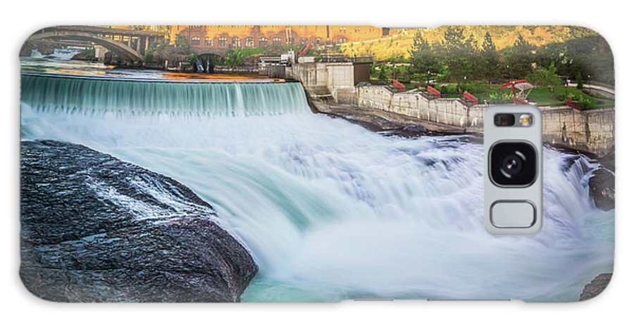 Water Galaxy S8 Case featuring the photograph Falls And The Washington Water Power Building Along The Spokane by Alex Grichenko