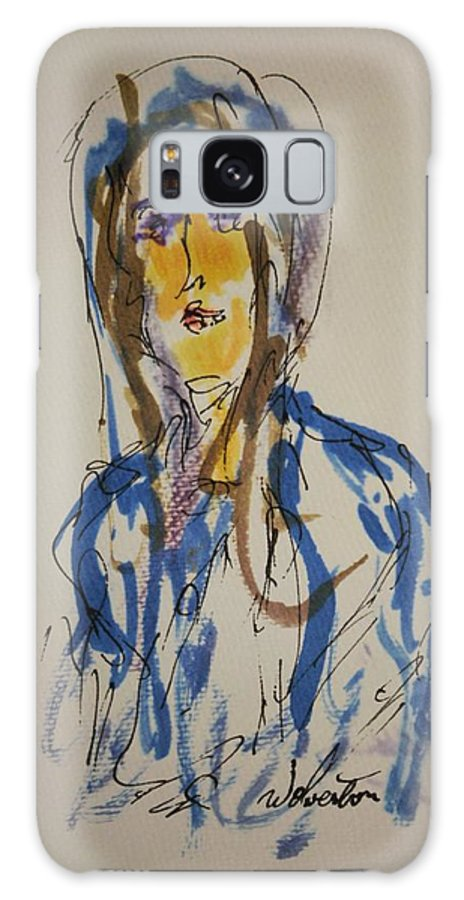 Portrait Galaxy S8 Case featuring the painting Female Face Study C by Edward Wolverton