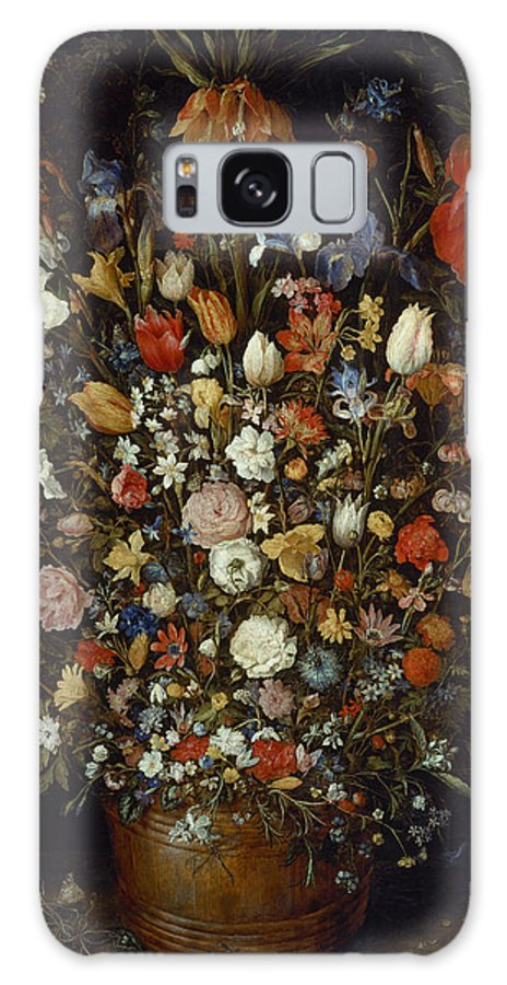 Jan Brueghel The Elder Galaxy S8 Case featuring the painting Flowers In A Wooden Vessel by Jan Brueghel the Elder