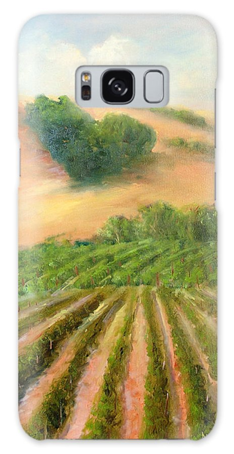 Vineyards Galaxy S8 Case featuring the painting Heart Mountain by Sally Seago