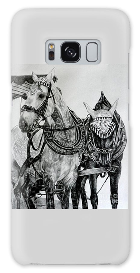 Horse Pencil Black White Germany Rothenburg Galaxy S8 Case featuring the drawing 2 Horses Of Rothenburg 2000usd by Karen Bowden