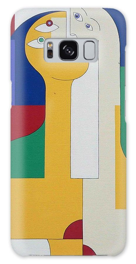 Modern Colors Women Humor Galaxy Case featuring the painting 2 In 1 by Hildegarde Handsaeme