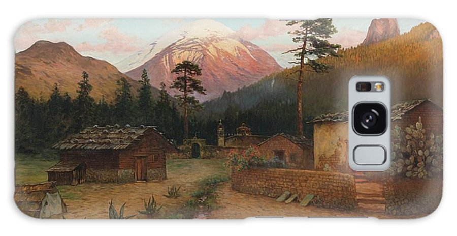 August Löhr (1843-1919) Landscape With Volcano Galaxy S8 Case featuring the painting Landscape With Volcano by MotionAge Designs