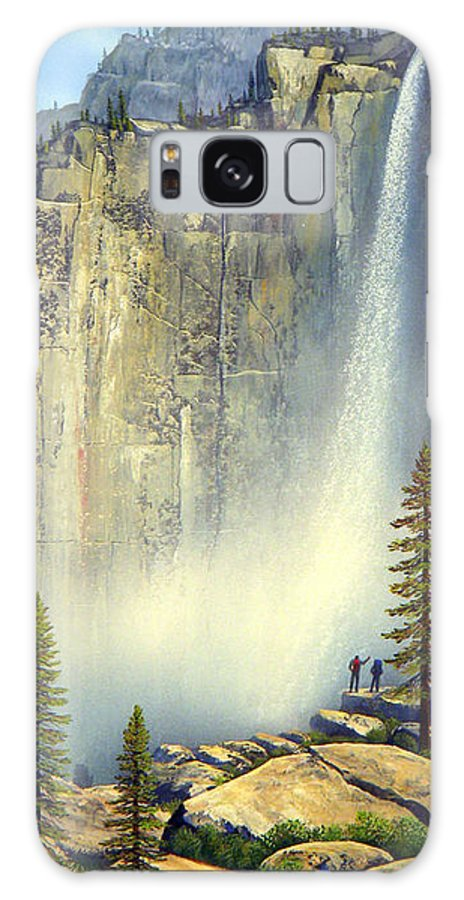 Landscape Galaxy S8 Case featuring the painting Misty Falls by Frank Wilson