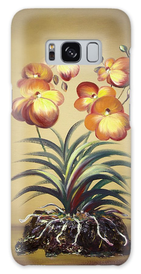 Orange Galaxy S8 Case featuring the painting Orange Orchid Flowers by Gina De Gorna