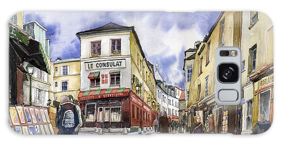 Watercolour Galaxy Case featuring the painting Paris Montmartre by Yuriy Shevchuk