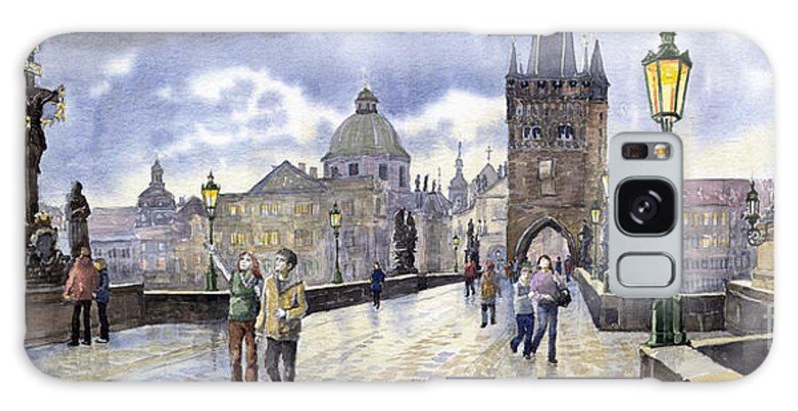 Watercolour Galaxy S8 Case featuring the painting Prague Charles Bridge by Yuriy Shevchuk