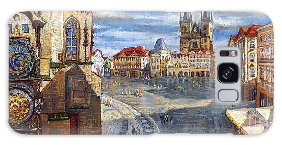 Pastel Galaxy S8 Case featuring the painting Prague Old Town Squere by Yuriy Shevchuk