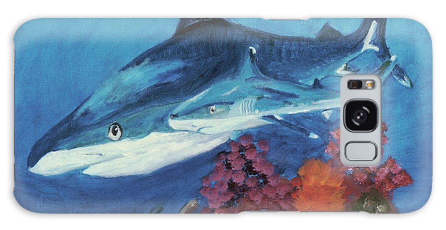 Sharks Galaxy S8 Case featuring the painting 2 Reef Sharks by Terry Lewey
