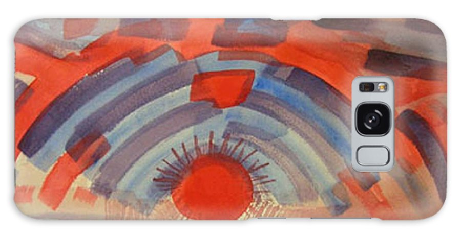 Landscape Galaxy Case featuring the painting Sunset On The Horizon by Natalee Parochka