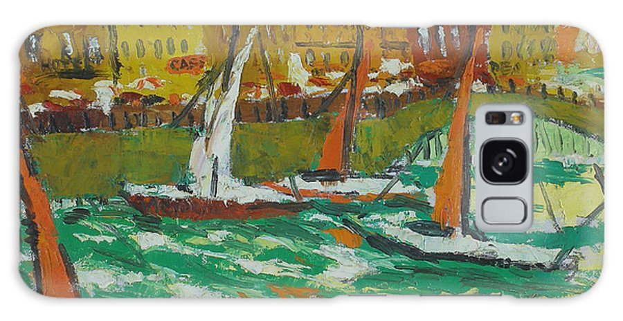 Bay Galaxy S8 Case featuring the painting Yachts by Robert Nizamov