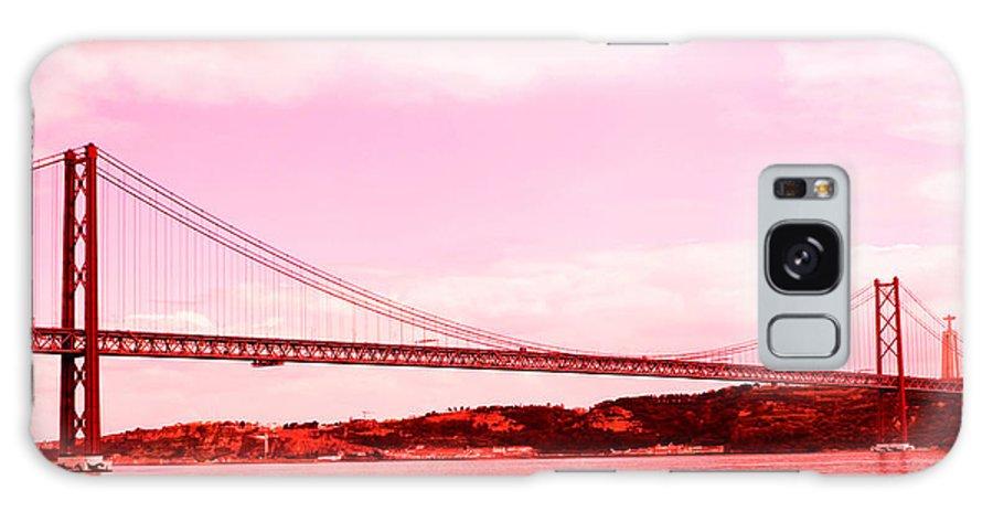Lisbon Galaxy S8 Case featuring the photograph 25 De Abril Bridge In Crimson by Lorraine Devon Wilke