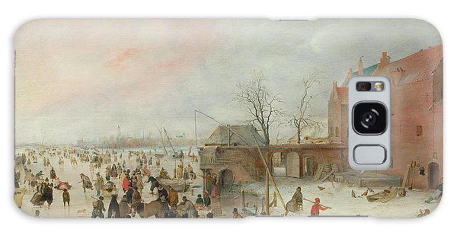 Scenery Galaxy S8 Case featuring the painting A Scene On The Ice Near A Town by Hendrick Avercamp
