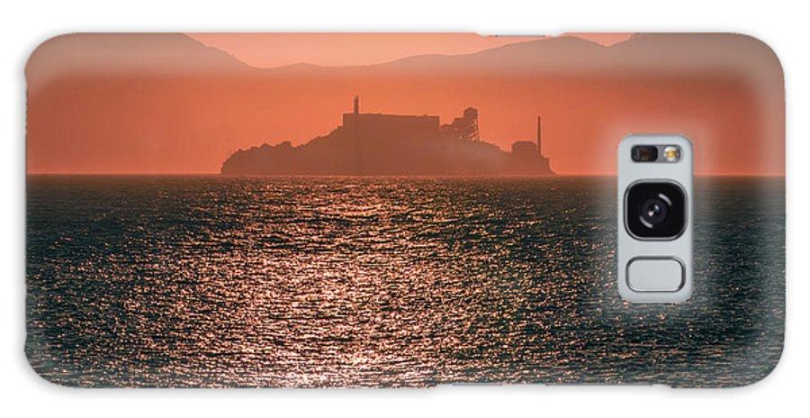 Island Galaxy S8 Case featuring the photograph Alcatraz Island Prison San Francisco Bay At Sunset by Alex Grichenko
