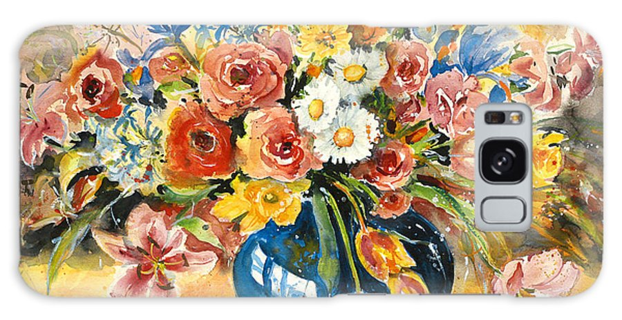 Still Life Galaxy S8 Case featuring the painting Blue Vase by Ingrid Dohm