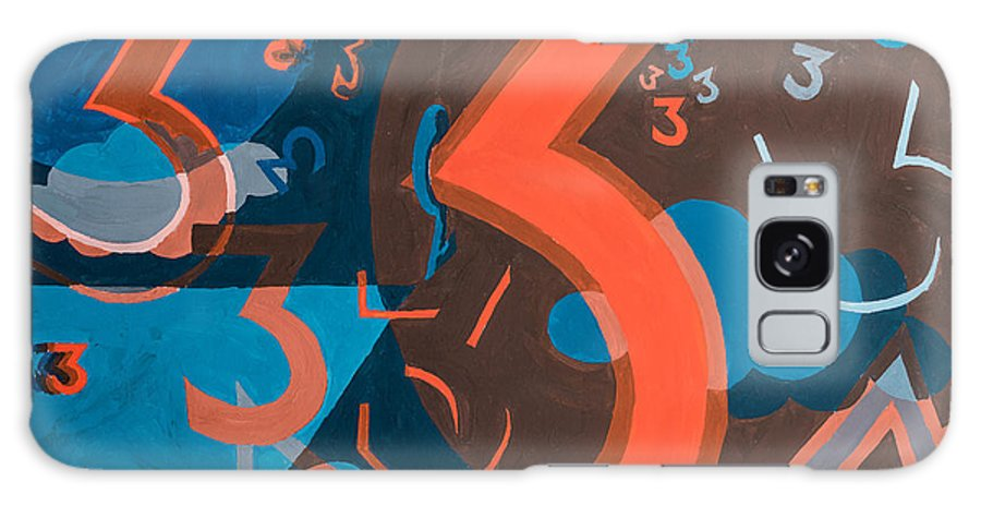 Three Galaxy S8 Case featuring the painting 3 In Blue And Orange by Break The Silhouette