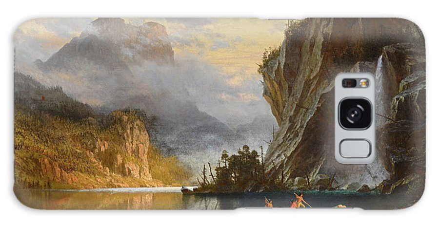 Albert Bierstadt Galaxy S8 Case featuring the painting Indians Spear Fishing by Albert Bierstadt