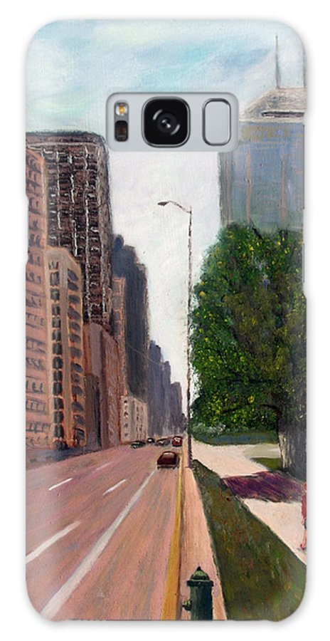 Cityscape Galaxy S8 Case featuring the painting Indy Kids by Stan Hamilton