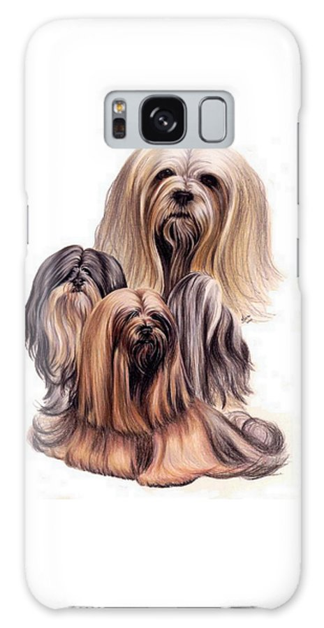 Purebred Galaxy S8 Case featuring the drawing Lhasa Apso Triple by Barbara Keith