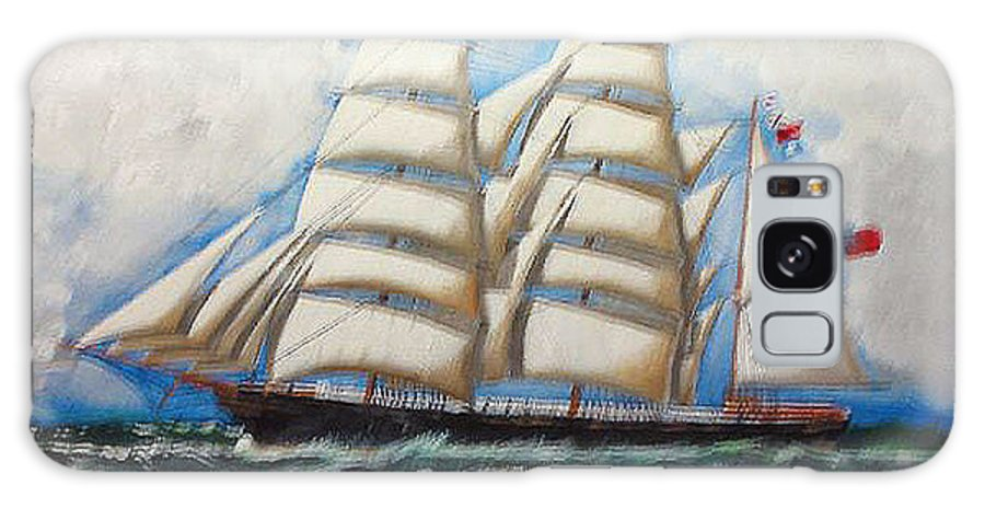 Tall Ship Galaxy S8 Case featuring the painting 3 Master Tall Ship by Richard Le Page