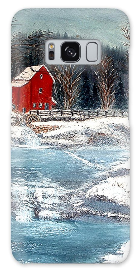 Landscape Mill Old Streem Creek Galaxy Case featuring the painting Old Mill by Kenneth LePoidevin