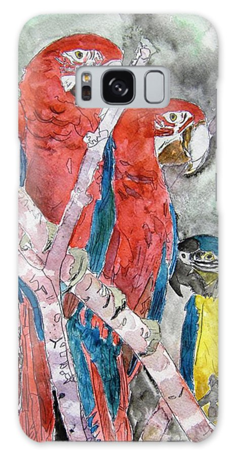 Bird Galaxy S8 Case featuring the painting 3 Parrots by Derek Mccrea