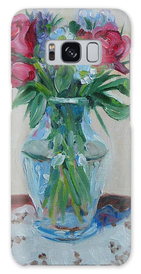 Roses Galaxy S8 Case featuring the painting 3 Roses by Paul Walsh
