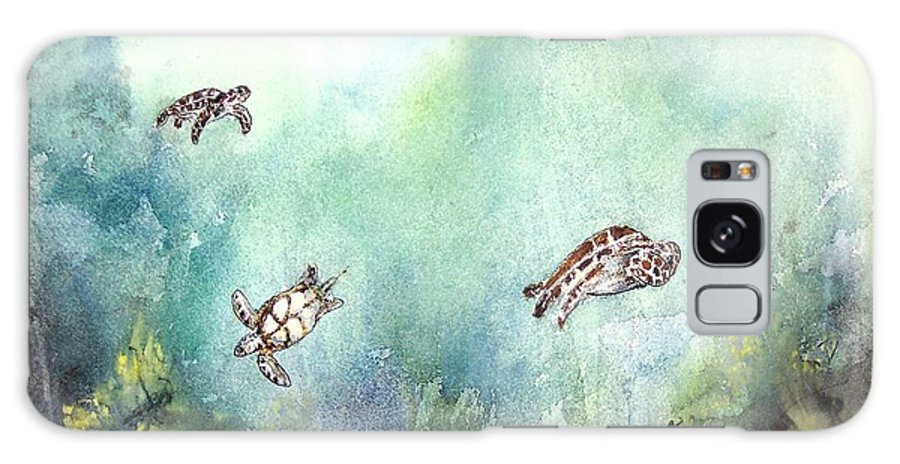 Turtle Galaxy S8 Case featuring the painting 3 Sea Turtles by Derek Mccrea