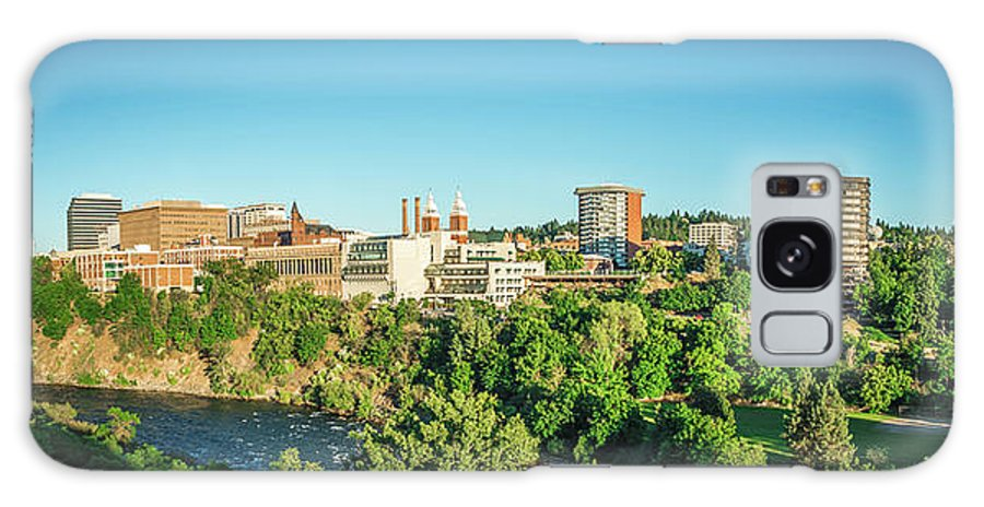 Panorama Galaxy S8 Case featuring the photograph Spokane Washington City Skyline And Streets by Alex Grichenko