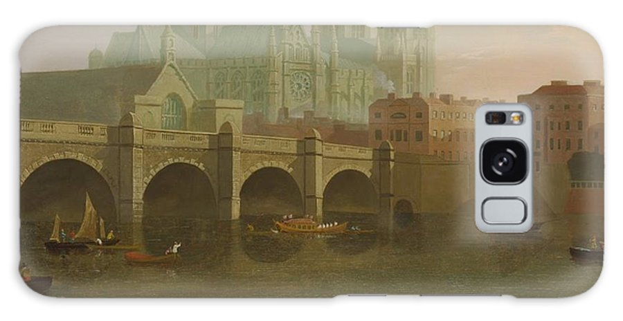 Joseph Farington (1747-1821)-'westminster Abbey And Bridge'-oil On Canvas-1794 Galaxy S8 Case featuring the painting Westminster Abbey And Bridge by Joseph Farington