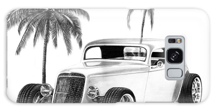 1933 Ford Coupe Galaxy S8 Case featuring the drawing 33 Ford Coupe by Peter Piatt