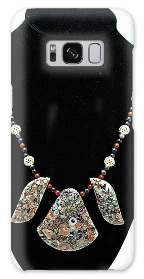Jewelry Galaxy S8 Case featuring the jewelry 3521 Crinoid Fossil Jasper Necklace by Teresa Mucha