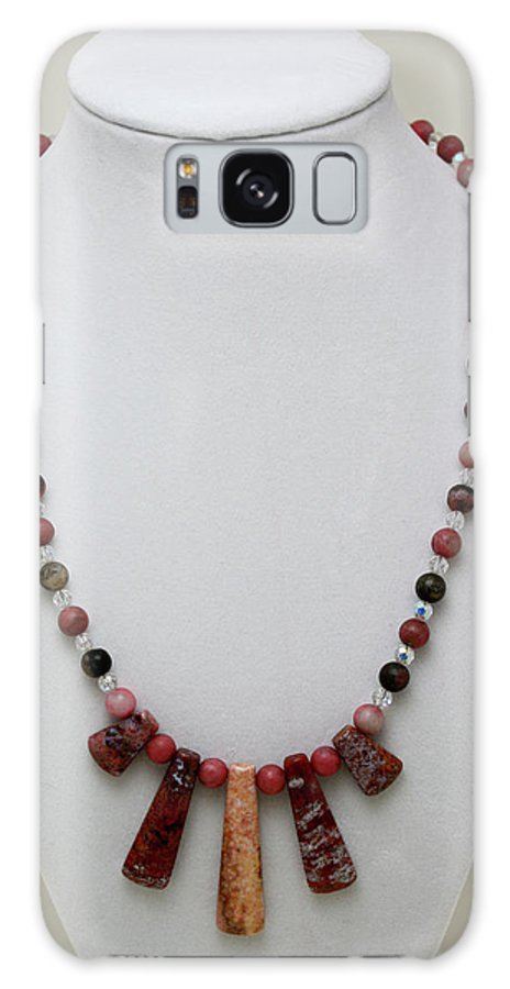 Handmade Galaxy S8 Case featuring the jewelry 3541 Rhodonite And Jasper Necklace by Teresa Mucha