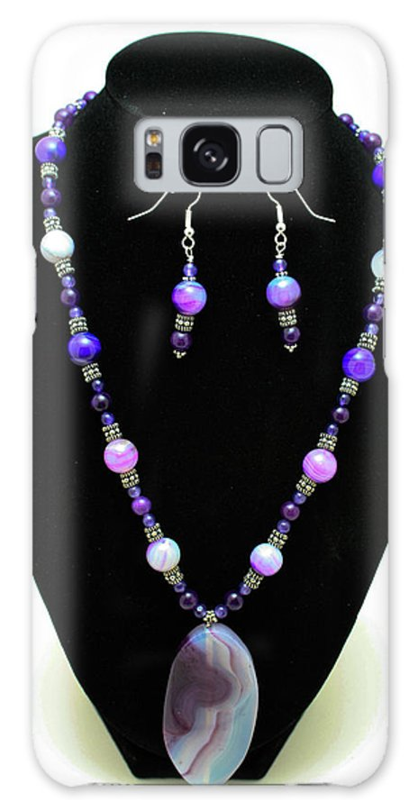 Jewelry Galaxy S8 Case featuring the jewelry 3547 Purple Veined Agate Set by Teresa Mucha