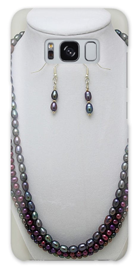 Handmade Galaxy S8 Case featuring the jewelry 3562 Triple Strand Freshwater Pearl Necklace Set by Teresa Mucha