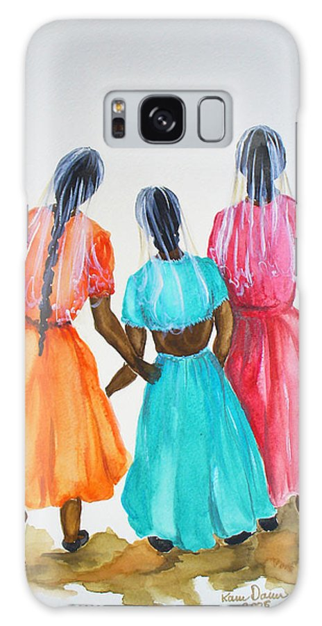 Three Ladies East Indian Galaxy S8 Case featuring the painting 3bff by Karin Dawn Kelshall- Best