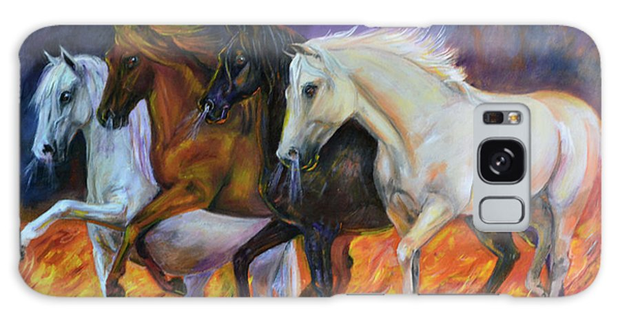 Horse Galaxy S8 Case featuring the painting 4 Horses Of The Apocalypse by Olga Kaczmar