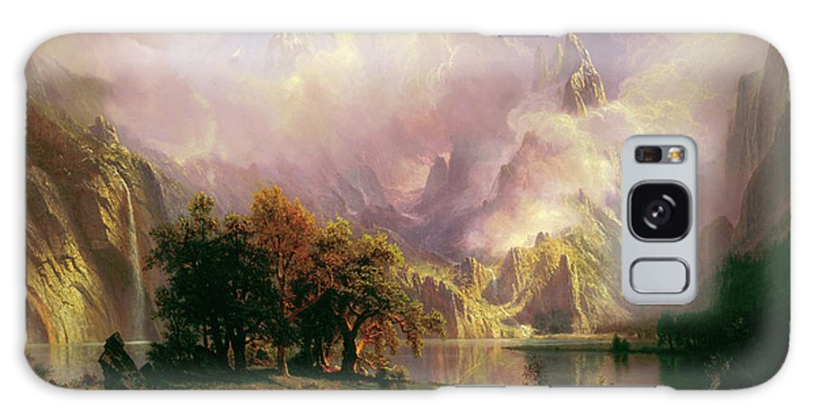 Albert Bierstadt Galaxy S8 Case featuring the painting Rocky Mountain Landscape by Albert Bierstadt