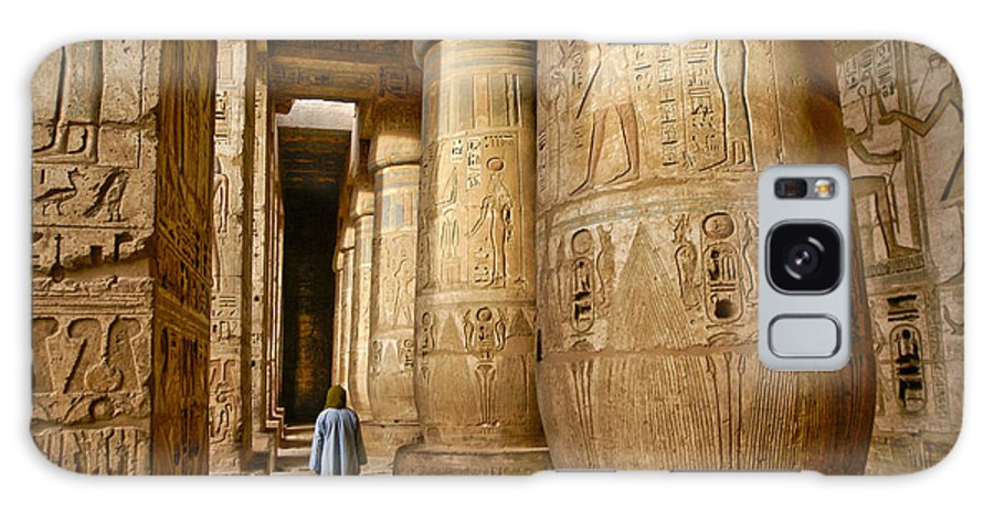 Egypt Galaxy S8 Case featuring the photograph Colonnade In An Egyptian Temple by Michele Burgess