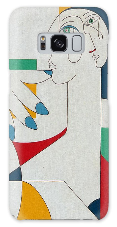Portrait Galaxy S8 Case featuring the painting 5 Fingers by Hildegarde Handsaeme