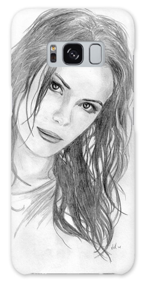 #katebeckinsale Galaxy S8 Case featuring the drawing Miss Beckinsale by Kristopher VonKaufman
